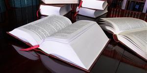 Bild: Aufgeschlagene Gesetzbücher