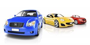 Bild: Blaues, gelbes und rotes Auto