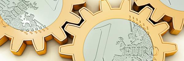 Bild: Euromünzen als Zahnräder