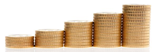 Bild: Stapel von Euro Geld Münzen