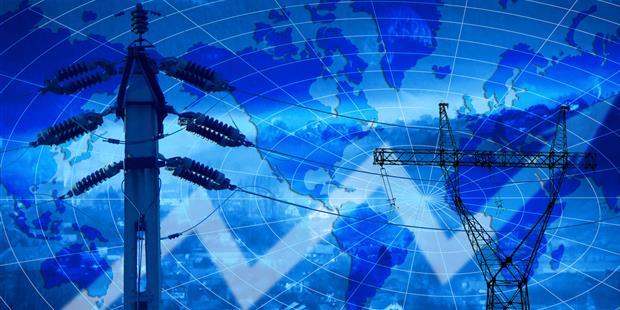 Bild: Stromleitungen vor Entwicklungskurve
