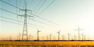 Bild: Strommasten, Kornfeld und Windräder