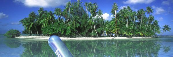 Bild: Tropische Insel mit Thermometer