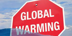 Bild: Warnschild: Globale Erwärmung