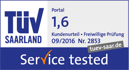 TÜV Saarland Service tested, September 2016, Note 1,6